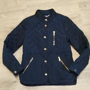 Zara Girls navy blue coat jacket patched elbows